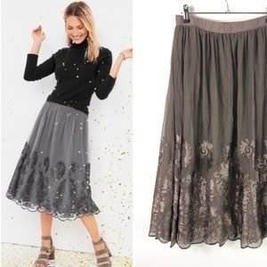 Garnet Hill Prima Tulle Skirt Embroider Taupe 484